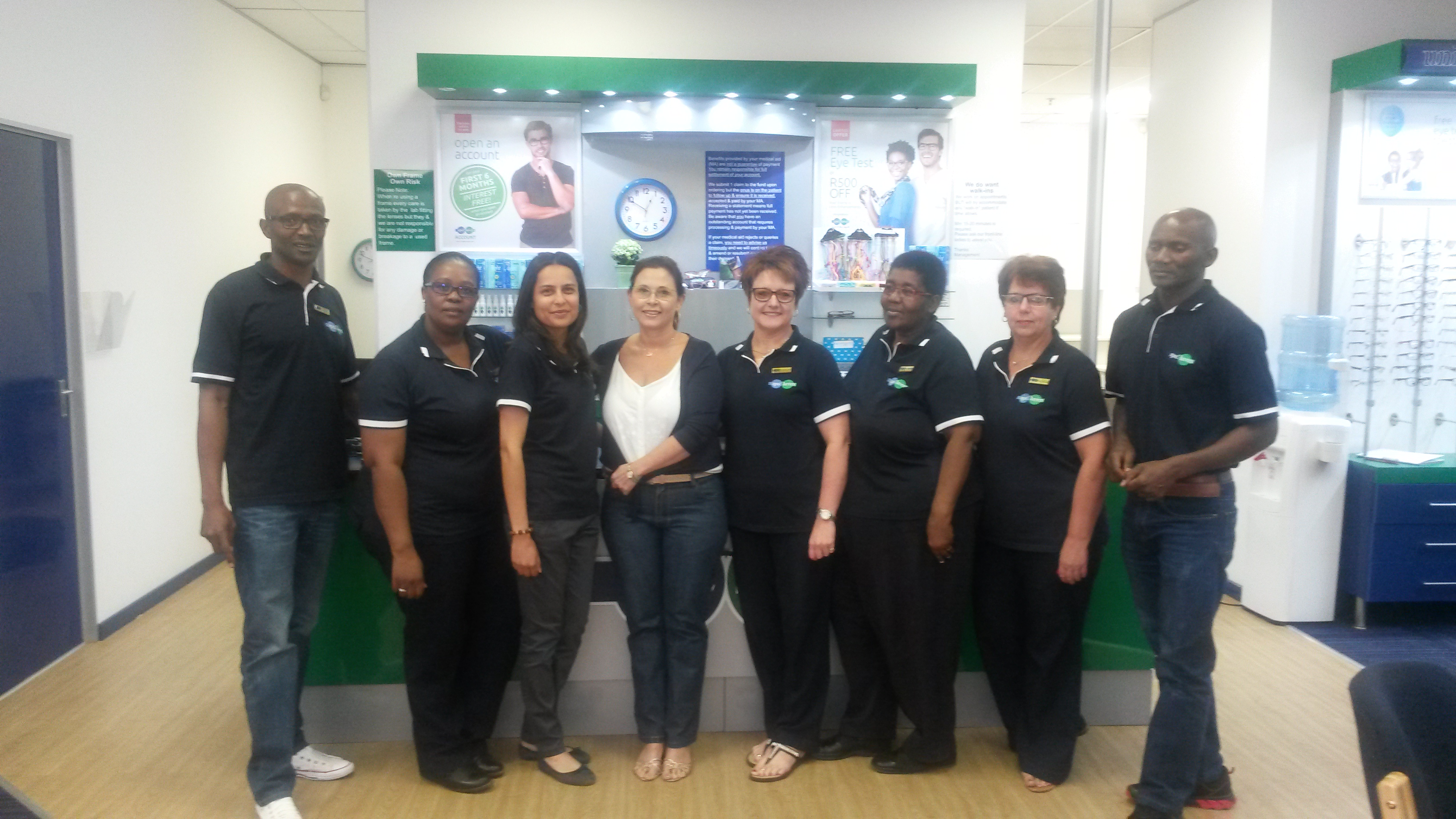 Our dynamic team at Spec-Savers: Alberton Collen Zondo, Portia Mavundla, Nina Madlav, Roan Theologo, Caroline Nortje, Sinah Tsetlo, Anita Rathbone and Wiseman Ngcongo