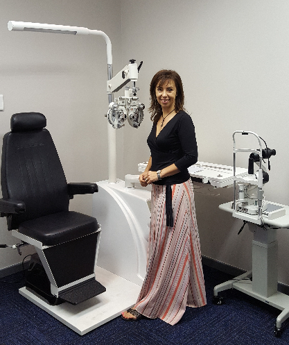 Our Optometrist: Corlia Muller in the testing room
