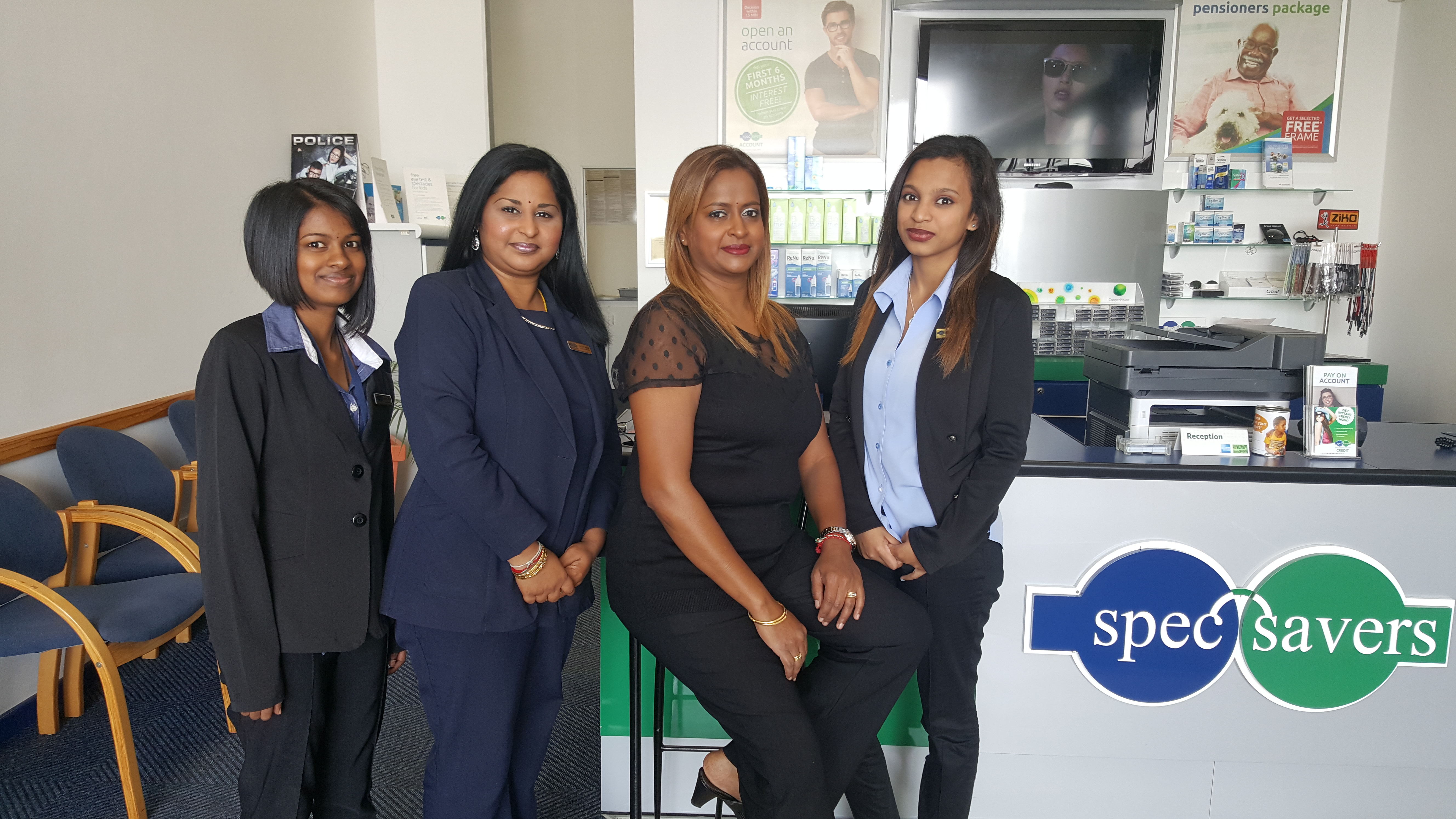 Meet the A Team: From the left: Dhivashni Singh - Optical Product Consultant, Candice Pillay - Sales Supervisor, Thiru Arjoon - Optometrist, Tamara Hamiel - Optical Product Consultant