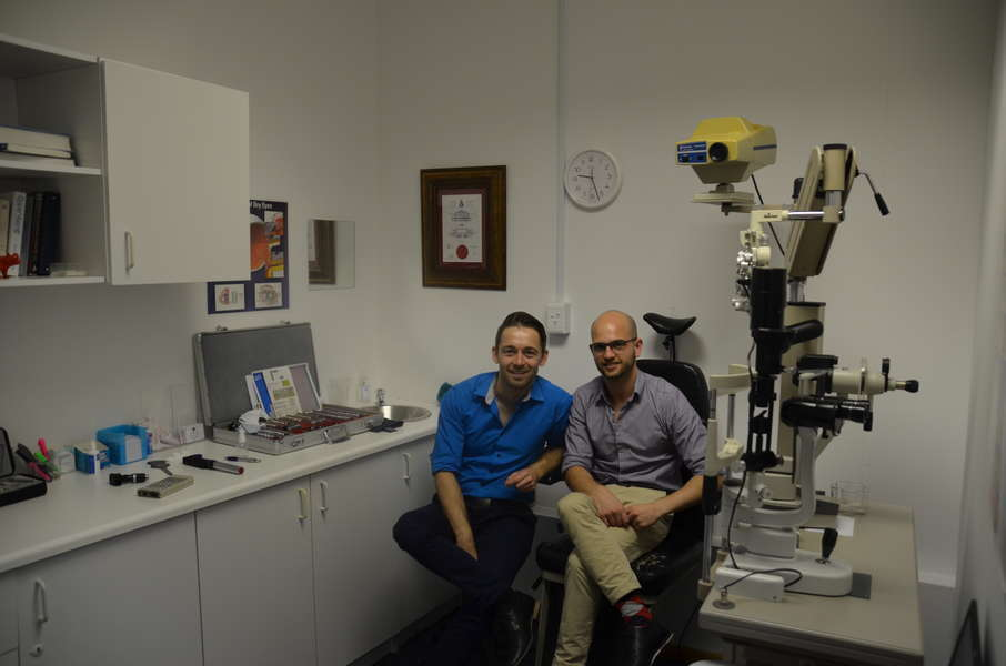 Optometrists Arno Prins and Armand Rautenbach in one of the Testing Rooms