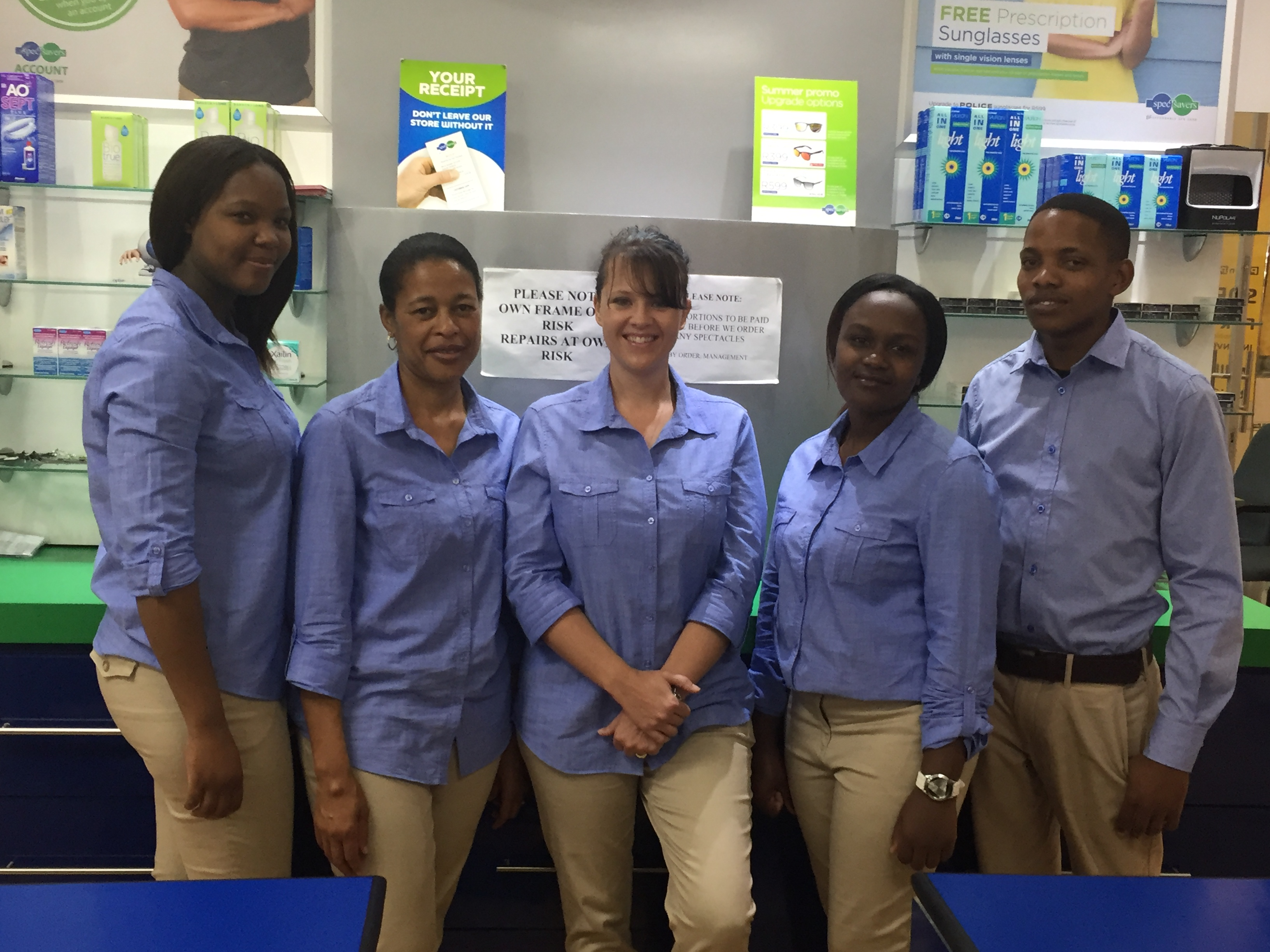 Spec-Savers The Boulders staff - from left to right, Melissa Skarnek, Edith Dhludhlu, Rolean Beets, Busisiwe Quolodashe and Pule Molofane.