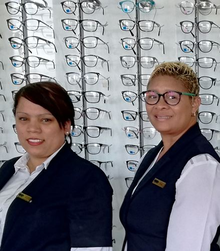 Chantel Jonkers (Optical Assistant) and Desiree Daames (Practice Manager)