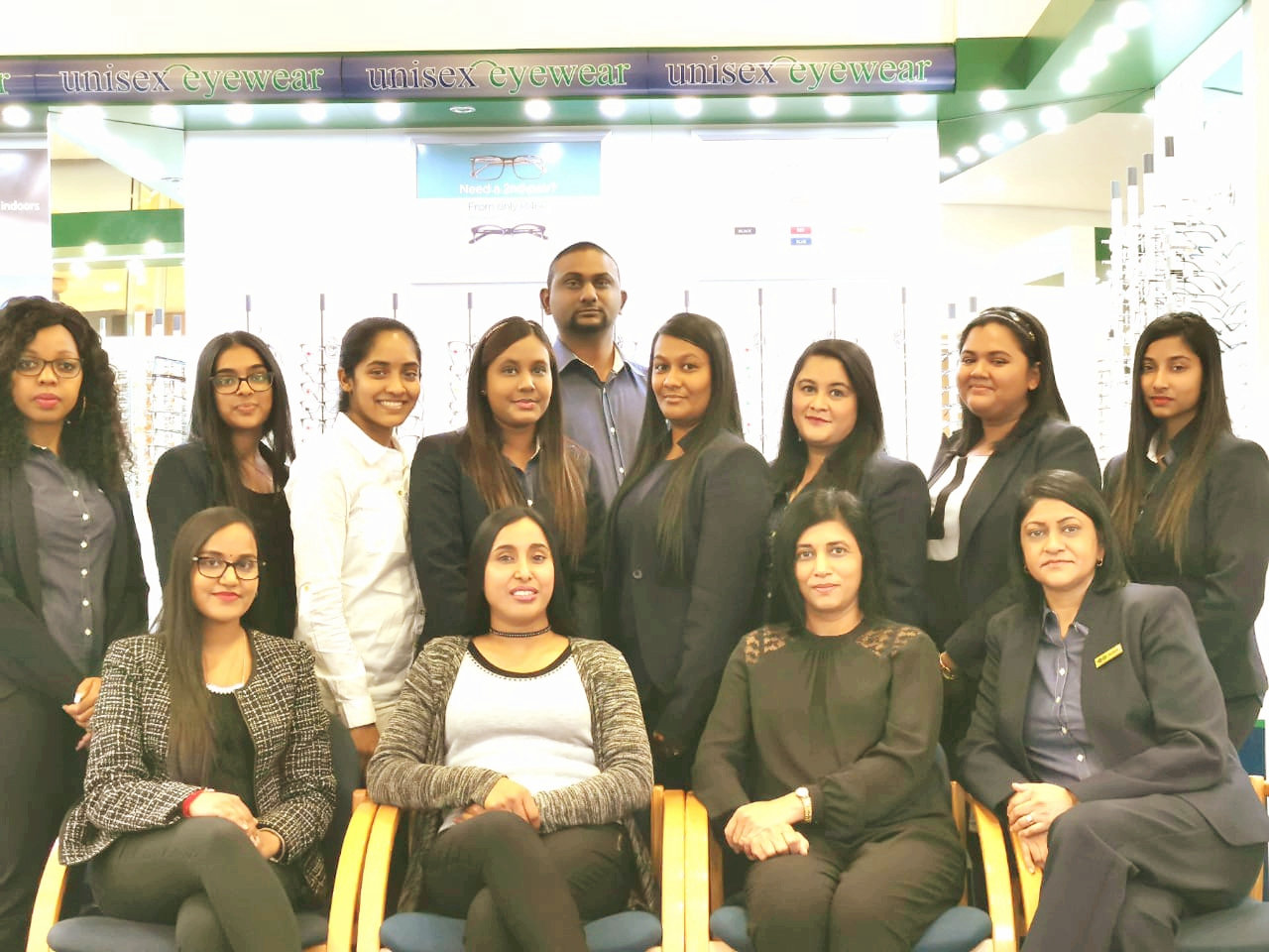 Optometrists Seated: Sudeshni, Amishka, Veni. Staff Seated: Nishana (Manageress), Standing: Gaynitha (Debtors), Geetasha, Nokulunga, Helen, Reeshana, Vanshika, Sachen, Luvisha, Catherine.