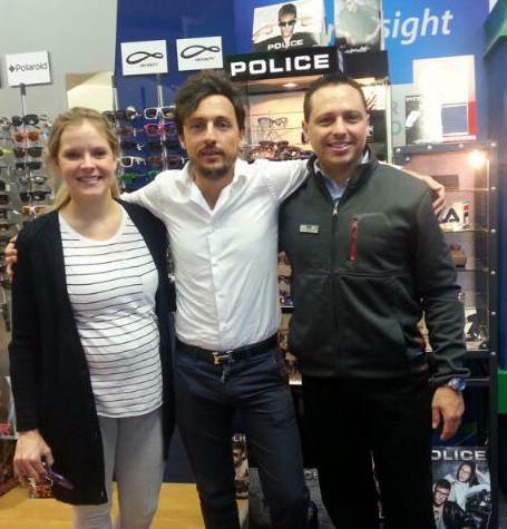 What a lovely visitor this was too! Luca Marchiorello (middle), the Italian representative of our Police and Carolina Herrera ranges. Here with him is Catherine Dowley and Antonie Wolmarans.