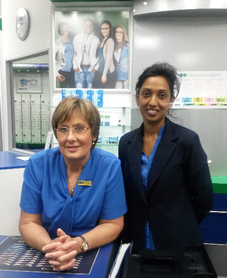 From the Left: Lesley Doidge (Manageress), Pregashane Govender (Optical Assistant)
