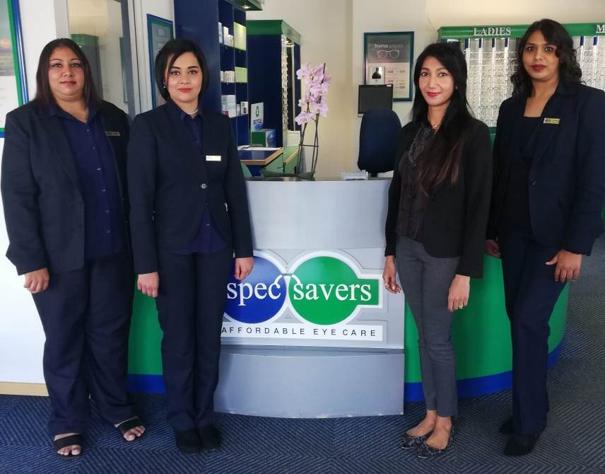 From Left to Right - Avisha Umarsingh (Frontliner), Nikita Mohanlal (Frontliner), Solita Singh (Optometrist) and Ishara Dwarika (Store Manageress)