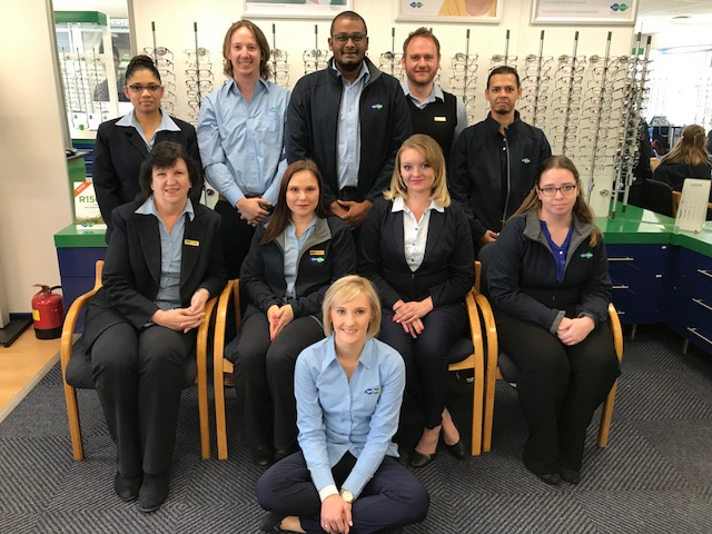Our friendly staff, from left to right: Back row: Sumaya Saib, Marius Schoeman, Vashen Karien, Herman Lötter, Zain Saib Seat row: Norma Korsman, Tanya Boshoff, Samantha de Wit, Taryn Dethian Sitting in the front: Petronell Dippenaar