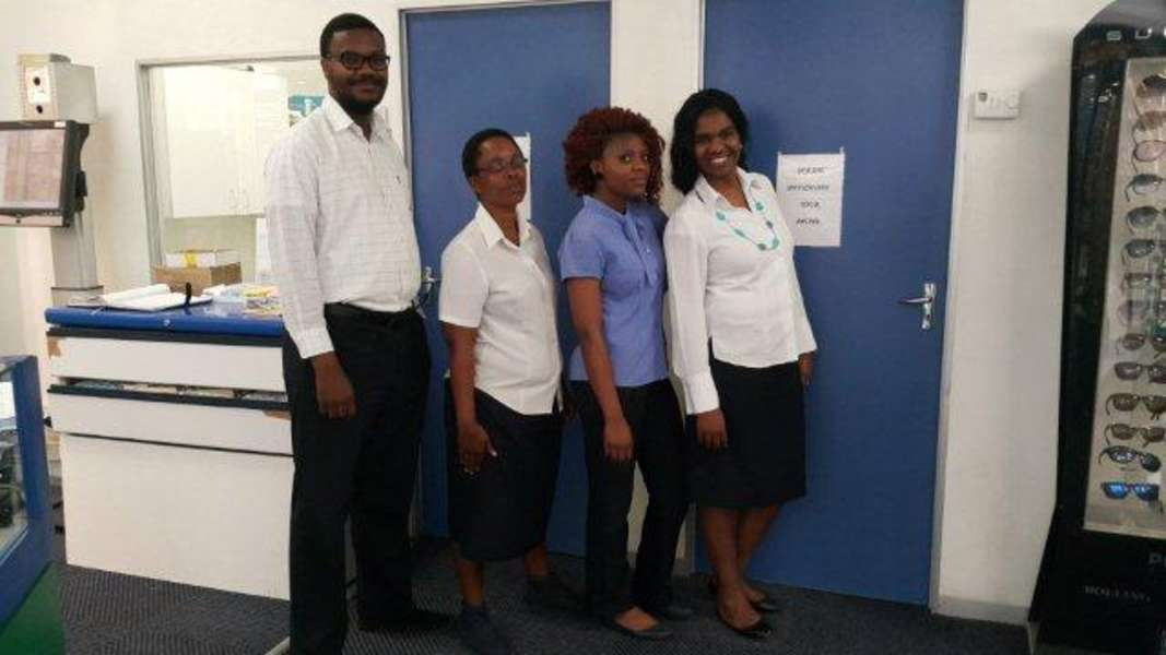 Staff  from left Aviwe (Optometrist), Dolly (assistant), Liako (optical Assistant) and Kallie ( Store Manager)
