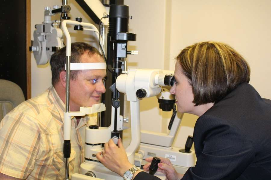Optometrist Twanette Howell busy with Biomicroscopy