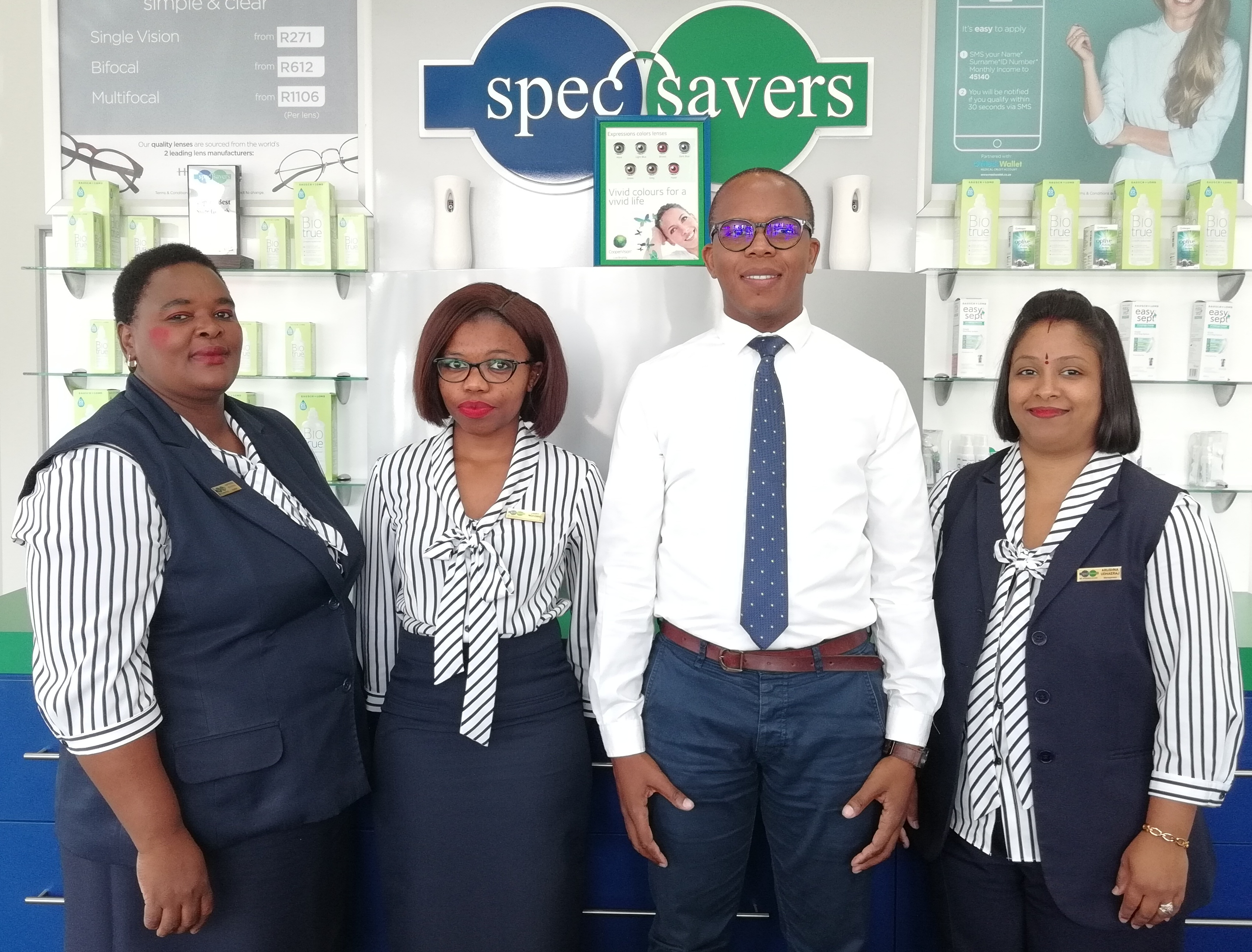 Meet our Spec-Savers Maritzburg Arch Team: From Left to Right - Frontliner - Happiness Mshengu, Frontliner - Zama Ngcobo, Optometrist - Simamkele Mfingwana and Manageress - Arushna Udhaeraj