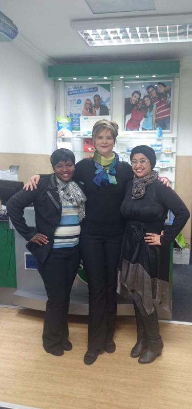 Frontliners: Ragel Malgas (Left), Yolandé Van Tonder (Middle) and Optometrist Nabeela Yusuf (Right)