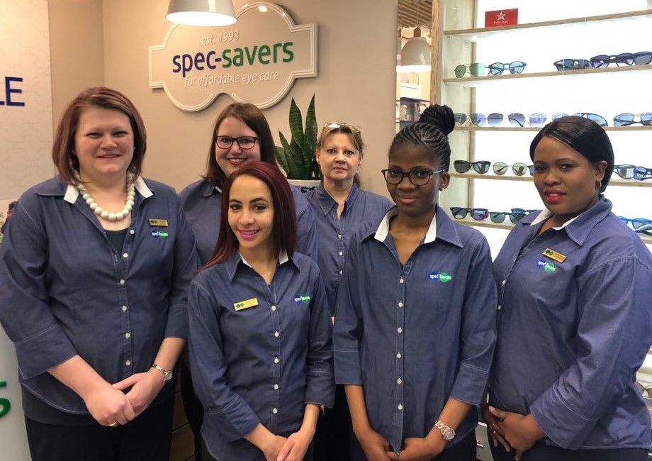 Our friendly staff from back left Marni Dreyer - Optical Assistant and Susan Brits - Lab Assistant. In front from left Lorraine Botha - Practice Manager, Chantelle Apollis - Optical Assistant, Porcha Mafisa - Optical Assistant and Petronize Diamond - Optical Assistant.