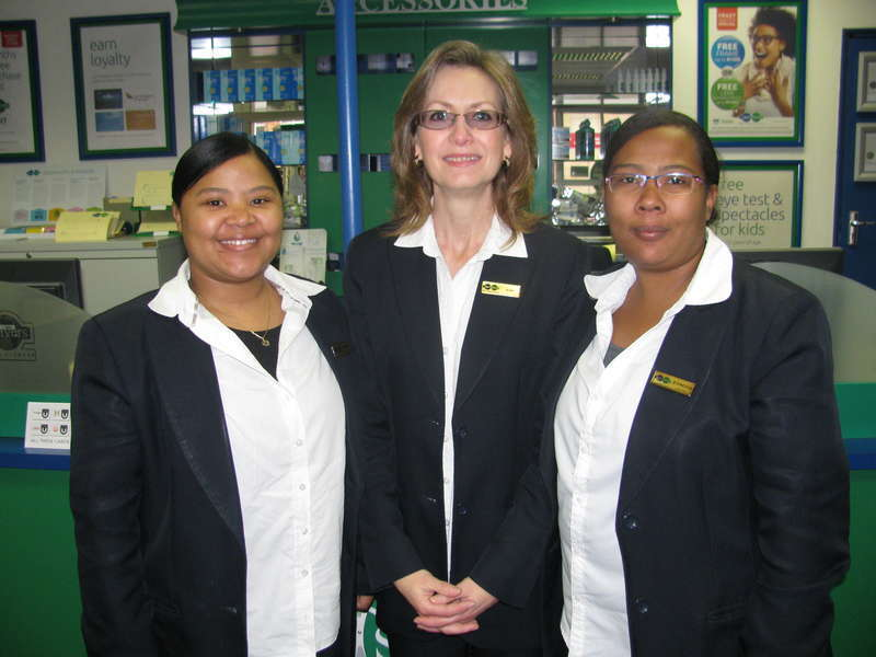 Our friendly staff members - from left: Jestemonia Fouchè (Dispencer), Alma Labuschagne (Debtors lady) & D'Vincetia Damon ( Frontliner)