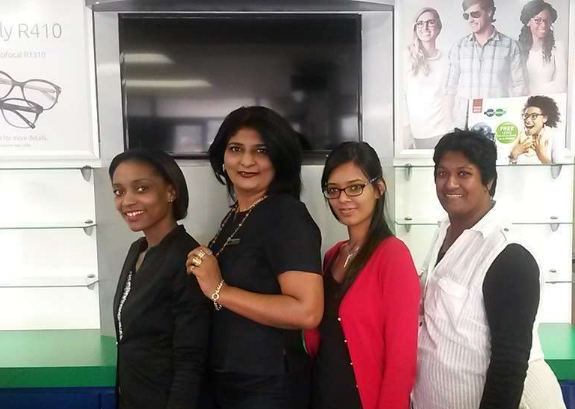 Staff:  From the left: Bongiwe Mbatha (General Assistant), Fiona Chetty (Manageress), Aristha Ramdass (Optometrist), Antonette Reddy (Temp Frontliner)