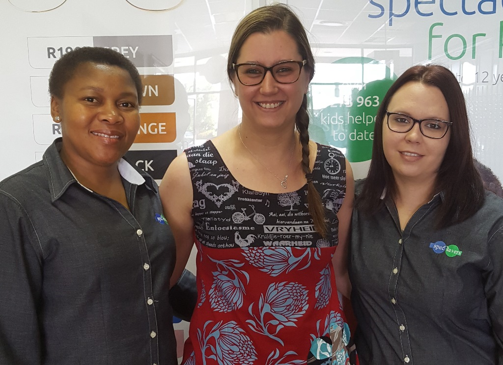 Optometrist Lindy, with frontliners Lina and Nikki