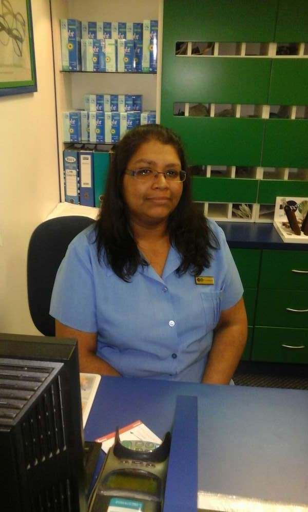 Optical assistant Charmaine Naidoo at front desk