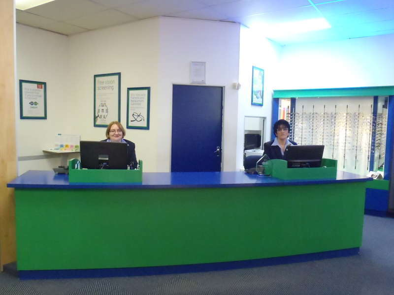 Reception desk with Donika (left) and Brenda (right)