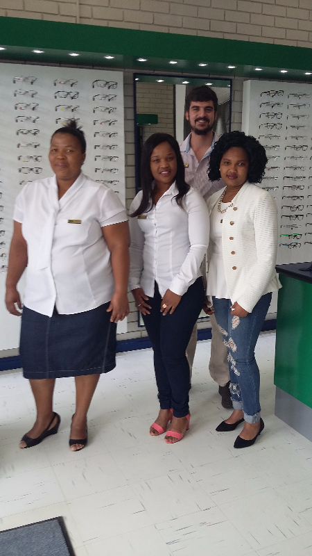 At the back: Chris Adendorff our Optometrist.  Front from the left: Tlhuluwelo Thibinyane (Frontliner), Boipelo Nakanyane (Practice Manager), Nokuzola Nkamana (General Assistant)
