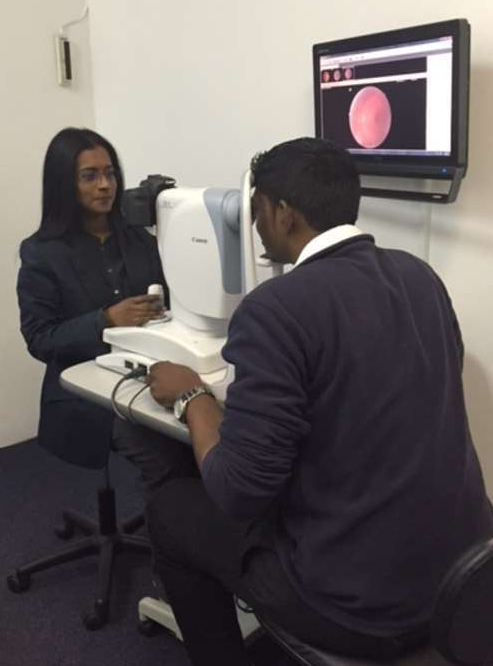 Fundus photo being taken by resident Optometrist Ansuya Moodley