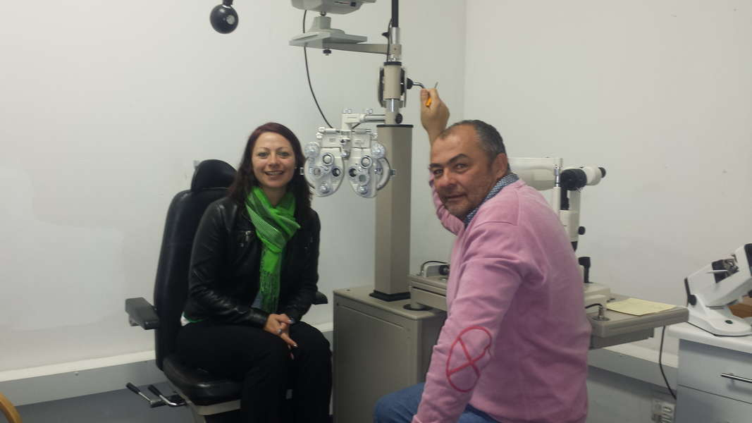 Our Optometrist testing a patient in our testing room