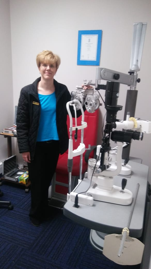 Our Optometrist Christine Henning in Testing room