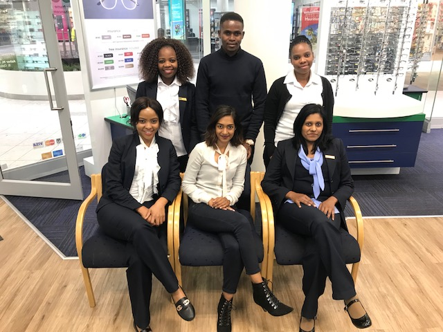 Our staff are ready and waiting to provide you with friendly and efficient service. From left to right at the back:  Moshala Ramodike; Nhlanhla Khumalo and Maria Mokoena In the front from left to right:  Precious Mogola; Maxine Naidu and Shiela Nair