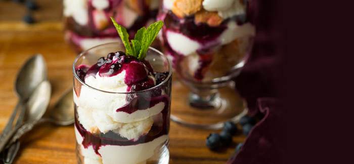 Holiday Trifles with Cheesecake Topping and Blueberry Sauce