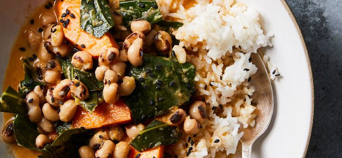 Sweet Potato-Coconut Curry with Black-Eyed Peas & Collard Greens